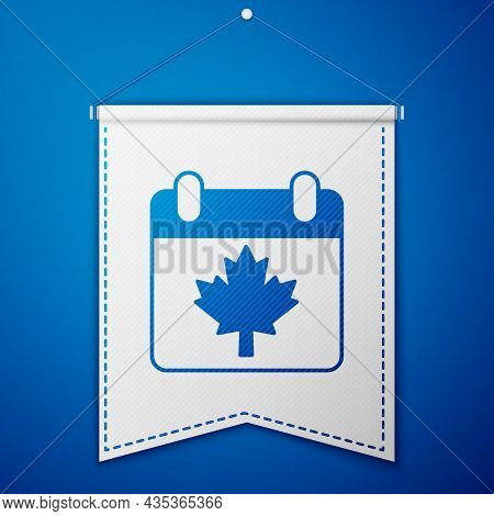 Blue Canada Day With Maple Leaf Icon Isolated On Blue Background. 1-th Of July Independence Day On T