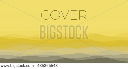 Abstract Waves Cover. Horizontal Background With Curves In Black Yellow Colors. Elegant Vector Illus