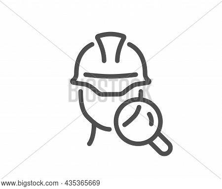 Inspect Line Icon. Builder Quality Sign. Constructor Verification Symbol. Quality Design Element. Li