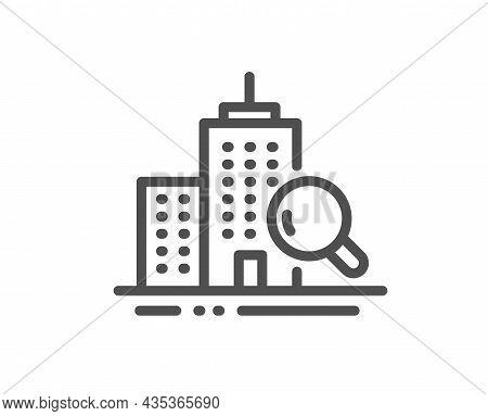 Inspect Line Icon. Building Quality Sign. Construction Verification Symbol. Quality Design Element.