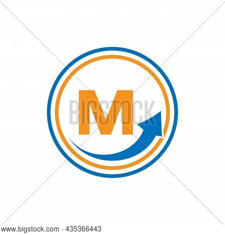 Finance Logo With Growth Arrow On M Letter. Letter M Marketing And Financial Business Logo Template