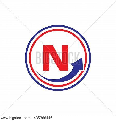 Finance Logo With Growth Arrow On N Letter. Letter N Marketing And Financial Business Logo Template