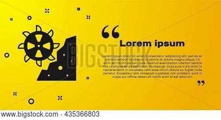 Black Bucket Wheel Excavator Icon Isolated On Yellow Background. Vector