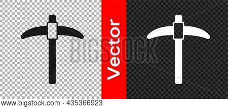Black Pickaxe Icon Isolated On Transparent Background. Vector