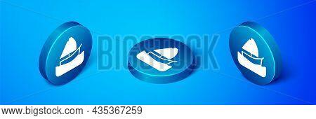 Isometric Yacht Sailboat Or Sailing Ship Icon Isolated On Blue Background. Sail Boat Marine Cruise T