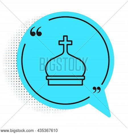 Black Line Christian Church Tower Icon Isolated On White Background. Religion Of Church. Blue Speech