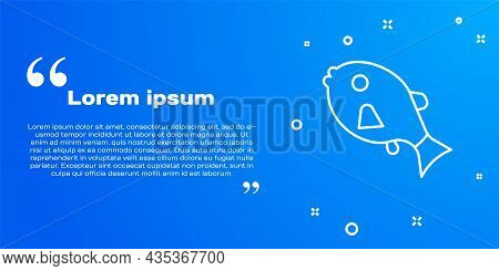 White Line Tropical Fish Icon Isolated On Blue Background. Exotic Fish. Vector