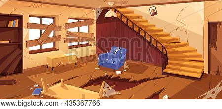 Inside Empty Abandoned Room In Desolated House. Destroyed Home Interior With Broken Staircase, Crack