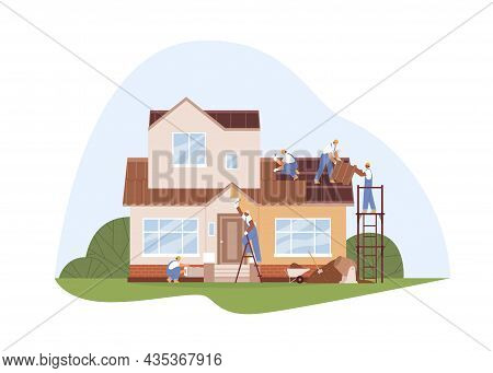 Workers At House Repair And Renovation. Builders Work Outside. People In Uniform Painting Walls And