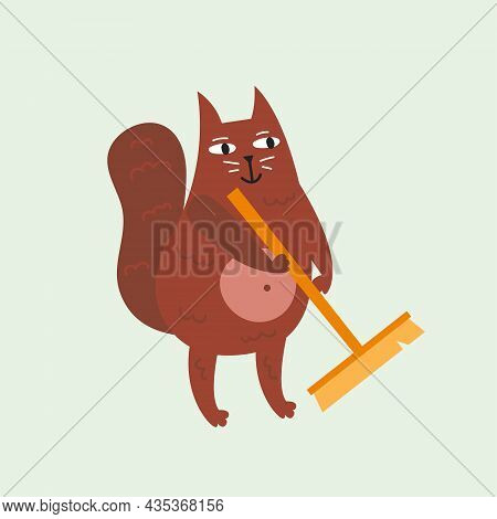 Domestic Funny Cat Doing Cleaning, Tidying. Kitten, Kitty. Vector Illustration Isolated On Backgroun