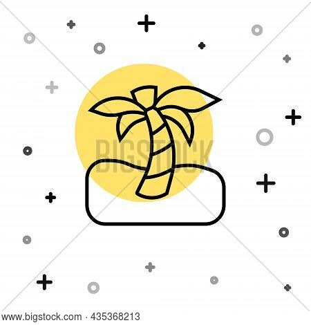 Black Line Tropical Palm Tree Icon Isolated On White Background. Coconut Palm Tree. Random Dynamic S