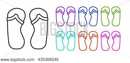 Black Line Flip Flops Icon Isolated On White Background. Beach Slippers Sign. Set Icons Colorful. Ve