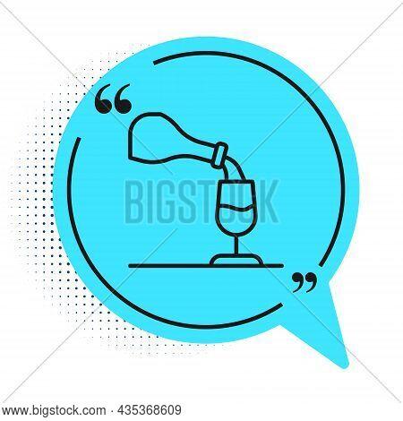 Black Line Wine Tasting, Degustation Icon Isolated On White Background. Sommelier. Smells Of Wine. B