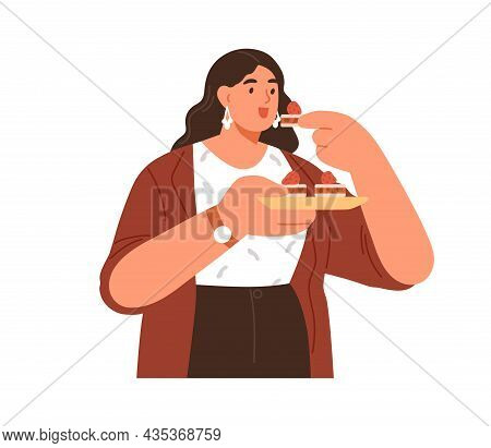 Happy Woman Eating Sugar Dessert, Standing With Plate Of Sweet Pastries. Person Enjoying Tasty Fat A
