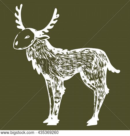 Vector Stylized Shamanic Psychedelic Deer At Green