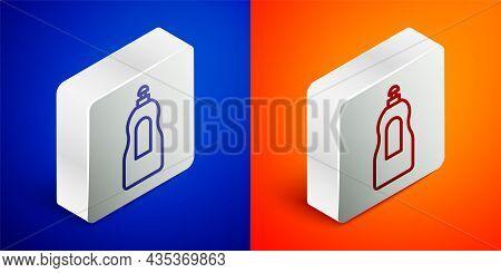 Isometric Line Dishwashing Liquid Bottle Icon Isolated On Blue And Orange Background. Liquid Deterge