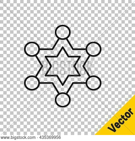 Black Line Hexagram Sheriff Icon Isolated On Transparent Background. Police Badge Icon. Vector