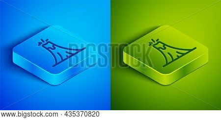 Isometric Line Volcano Eruption With Lava Icon Isolated On Blue And Green Background. Square Button.
