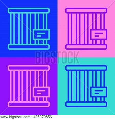 Pop Art Line Animal Cage Icon Isolated On Color Background. Vector