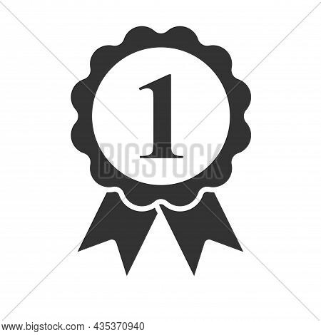 Award Ribbon With The Number One, 1 In The Center. Symbol Of Prizes And Awards At An Exhibition, Com