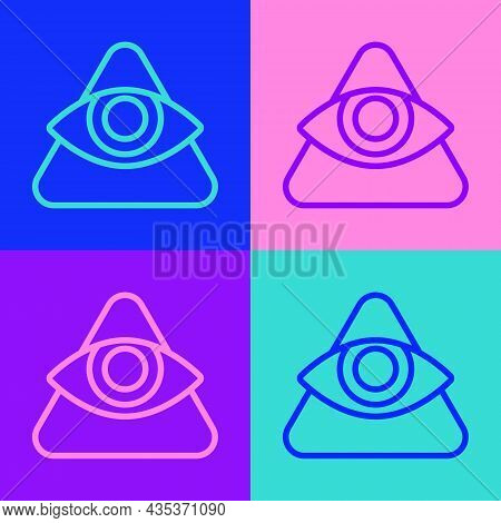 Pop Art Line Masons Symbol All-seeing Eye Of God Icon Isolated On Color Background. The Eye Of Provi