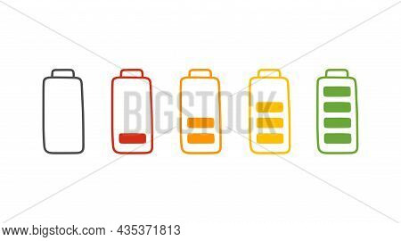 Battery Charge In Cartoon Style, Vector Illustration. Hand Drawn Set Icon, Energy Level Low And Full