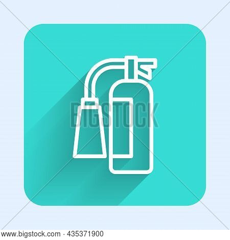 White Line Fire Extinguisher Icon Isolated With Long Shadow Background. Green Square Button. Vector