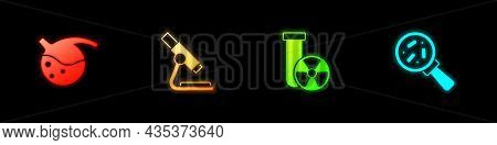 Set Test Tube And Flask, Microscope, Radiation And Microorganisms Under Magnifier Icon. Vector