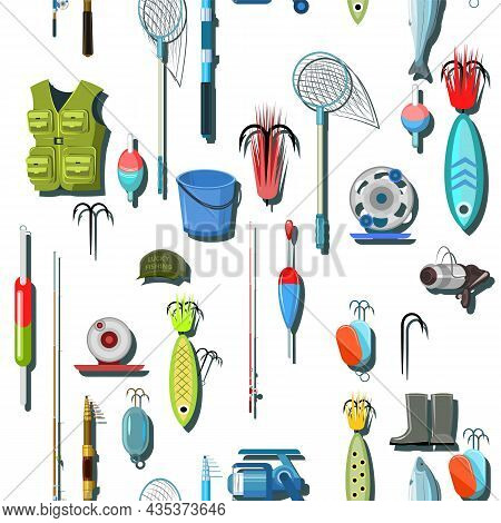 Goods For Fishing. Equipment And Accessories For Recreation And Hunting On Reservoirs. Sale Of Fishi