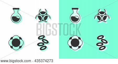 Set Hemoglobin, Test Tube And Flask, Molecule And Biohazard Symbol Icon. Vector