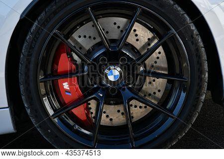 Mugello Circuit, Italy - 23 September 2021: Detail Of An Alloy Wheel Rim With Brake Caliper Of A Bmw