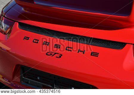 Mugello Circuit, Italy - 23 September 2021: Detail Of A Porsche Carrera 4s In The Paddock Of Mugello
