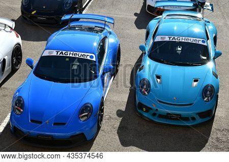 Mugello Circuit, Italy - 23 September 2021: Porsche 992 Gt3 2021 In The Paddock At Mugello Circuit D