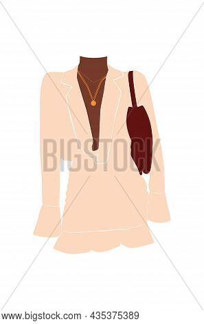 Abstract Fashion Stylish Woman. Stylish Woman Outfit. Minimal Vector Illustration Isolated On Backgr