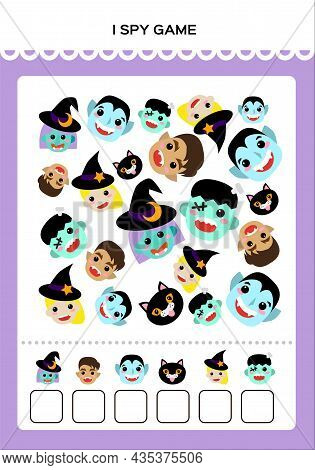 Happy Halloween I Spy Math Game For Kids With Monsters. Mathematical Practice. Education Game For Ch