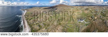 Aerial View Of The Beautiful Coastline Of Gweedore : Bloody Foreland And Brinlack - County Donegal,