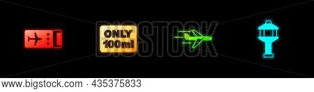 Set Airline Ticket, Liquids Carry-on Baggage, Plane And Airport Control Tower Icon. Vector