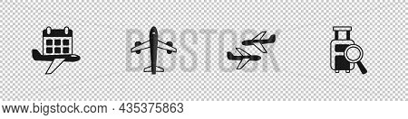 Set Calendar And Airplane, Plane, And Lost Baggage Icon. Vector