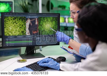 Multi-ethnic Team Of Chemists Researchers Analyzing Plants Modified Genetically Expertise On Compute