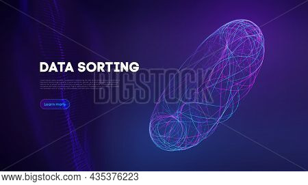 Data Sorting Information Infographic. Data Funnel Ai Network. Technology Blockchain Background Conce