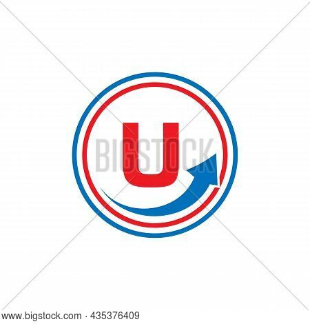 Finance Logo With Growth Arrow On U Letter. Letter U Marketing And Financial Business Logo Template