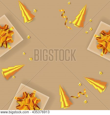 Merry Christmas And Happy New Year Background. Festive Design With Golden Ribbon, Gift Boxes, Christ
