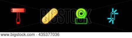Set Skateboard T Tool, , Wheel And Tool Allen Keys Icon. Vector
