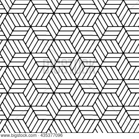Seamless Geometric Op Art Pattern With 3d Illusion Effect. Vector Illustration.