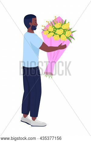 Man Giving Bouquet Semi Flat Color Vector Character. Posing Figure. Full Body Person On White. Flowe