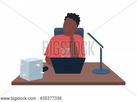 Man Tired From Work Semi Flat Color Vector Character. Sitting Figure. Full Body Person On White. Pap