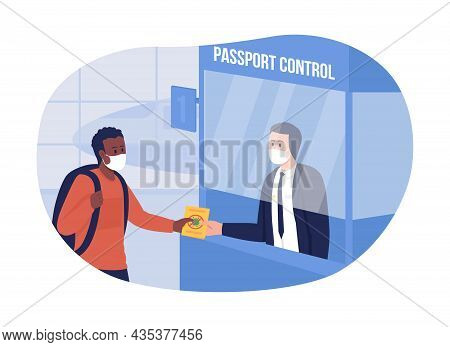 Ppassport Control With Health Precaution 2d Vector Isolated Illustration. People In Respiratory Faci