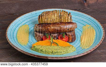 Sausage Pork Broccoli Mash Dinner Blue Plate