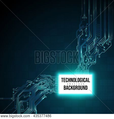 Circuit Board Background, Concept Design, Space For Text. Electronic Digital Computing Technology, P