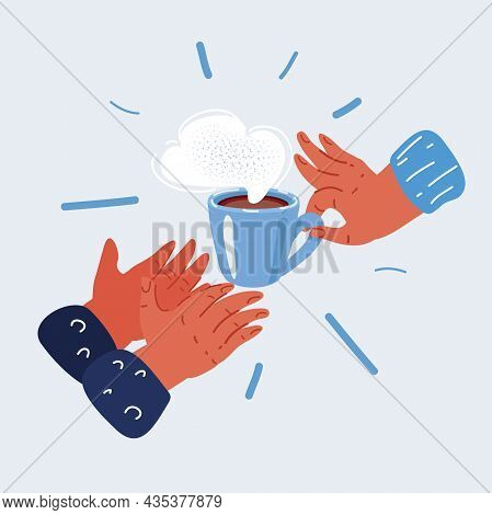 Vector Illustration Of Human Hands With Cup Of Tea Give To Another Person Concept Of Goodness, Love,